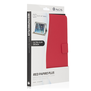 "NGS UNIVERSAL 10"" TABLET CASE PAPIROPLUS RED"