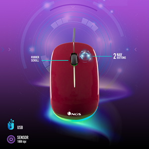 NGS WIRED MOUSE ADDICT MAROON