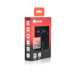 NGS WIRED STEREO EARPHONE CROSS RALLY GRAPHITE